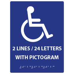 ADA Compliant Custom Signs with a Pictogram, Up to 36 Characters of Tactile Text and Grade 2 Braille - Up to 3 Lines of Text with 36 Characters Total