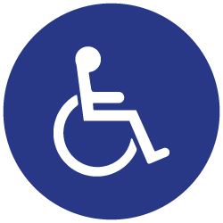 ADA International Symbol of Accessibility (ISA) Marker Sign for Restaurant Tables and Retail Environments - 1.25 inch diameter - Minimum order of ten signs