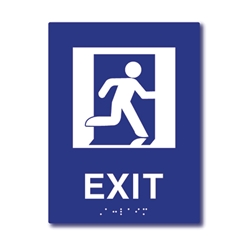 ADA Compliant Running Man Symbol Exit Sign with Tactile Text and Grade 2 Braille - 6x8