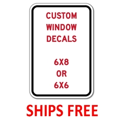 Custom Window Decals - Digitally printed color-fast window decals. Decals have peel-and-stick adhesive on the front side to allow for placing on the inside of your windows to minimize weathering and tampering