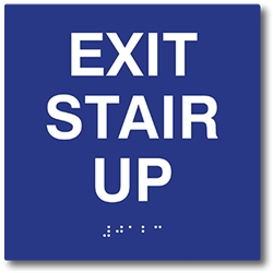 ADA Compliant Exit Stair Up Signs with Raised Text and Grade 2 Braille - 6x6