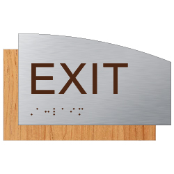 ADA Exit Sign - Designer Brushed Aluminum and Wood Laminates with Tactile Text and Braille