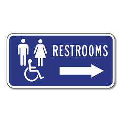 ADA Restroom Directional Sign - With or Without Directional Arrow - 12x12 - Outdoor Rated Reflective Rust-Free Heavy Gauge (.063) Aluminum Restroom Signs from STOPSignsAndMore.com