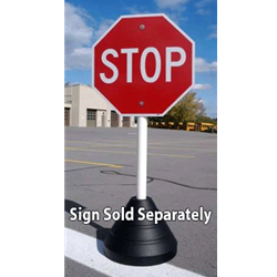 Buy 70-Pound Portable Recycled Rubber Sign Bases with PVC Post and Sign Mounting Hardware