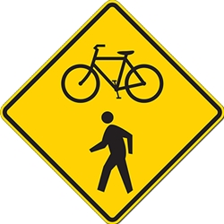 Bicycle And Pedestrian On Road Warning Signs - 24x24 - W11-15 MUTCD Official Reflective Rust-Free Heavy Gauge Aluminum Bicycle And Pedestrian On Road Warning Signs