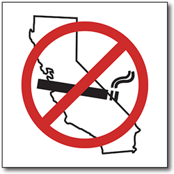 No Smoking Allowed California - 6x6 - Window Decal or Label