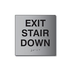 ADA Exit Stair Down Sign - 6x6 - Brushed Aluminum