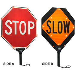 MUTCD Compliant 18X18 Flashing LED STOP/SLOW Paddle Signs - Sign is High Intensity Prismatic (HIP) Reflective, Sign is made with durable Light-Weight Aluminum