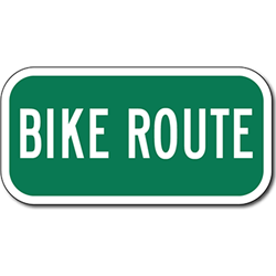 Bike Route Warning Sign 12x6