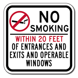 No Smoking Within 20 Feet Of Entrances And Exits And Operable Windows Sign - 12x12 - Non-reflective