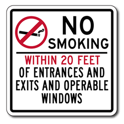 No Smoking Within 20 Feet Of Entrances And Exits And Operable Windows Sign - 8x8 - Non-reflective