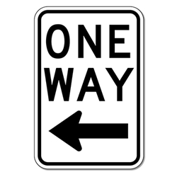 R6-2L One Way Signs With Left Arrow - 12X18 - Official MUTCD Reflective Rust-Free Heavy Gauge Aluminum Road Signs