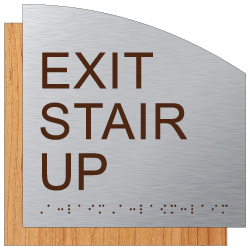 ADA Exit Stair Up Sign - Designer Brushed Aluminum and Wood Laminates with Tactile Text and Braille