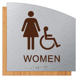 Female ADA Wheelchair   Accessible Restroom Wall Sign in  Brushed Aluminum and Wood Laminates