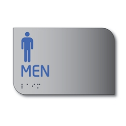 Designer ADA Mens Restroom Wall Sign with Male Pictograms and Tactile Text and Grade 2 Braille- 6x4 - Brushed aluminum is an attractive alternative to plastic ADA signs