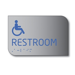 Designer ADA Unisex Restroom Wall Sign with Male, Female and ISA (wheelchair) Pictograms and Tactile Text and Grade 2 Braille- 6x8 - Brushed aluminum is an attractive alternative to plastic ADA signs