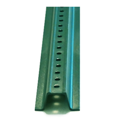 Ten-Foot Galvanized U-Channel Sign Post - Heavy Gauge (2.0LBS/FT) Green steel sign post with predrilled holes and strong rust-resistance