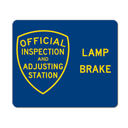 Official Brake and Lamp Adjusting Station Combo Sign - Single-Faced - 36x30 - Reflective, heavy-gauge aluminum Brake Adjusting Station sign