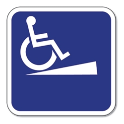 Outdoor Rated Aluminum Wheelchair Ramp Sign - Without Directional Arrow - 12x12 - Reflective Rust-Free Heavy Gauge (.063) Aluminum ADA Signs
