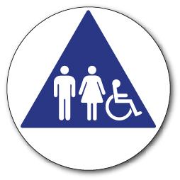 Ada Unisex Restroom Door Sign Isa Pictograms Reverse Triangle Color 12x12