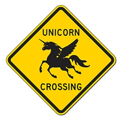 Unicorn Wings Crossing Warning Sign - 12x12 or 18x18 sizes - Authentic Road Sign - Reflective Rust-Free Heavy Gauge Aluminum