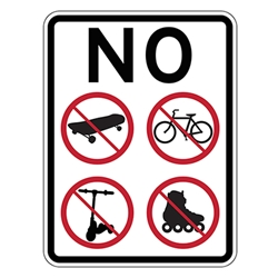 No Skateboarding Bicycle Riding Roller Blading Roller Skating Scooter Riding Sign-18x24- Made with Reflective Rust-Free Heavy Gauge Aluminum available at STOPSignsAndMore