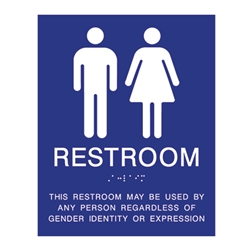Gender Neutral ADA Wall Signs with Tactile Text and Grade 2 Braille 8x10