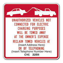 Official R112 California Electric Vehicle Parking Tow Away Sign - 24x24 - Reflective Rust-Free Heavy Gauge Aluminum Electric Vehicle Parking Signs