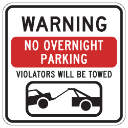 No Overnight Parking Signs - 18x18