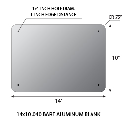 Aluminum Blank 14x10 .063 1.5 CR Standard Holes - Rectangular Shape Sign available for fast shipping from STOPSignsAndMore.com