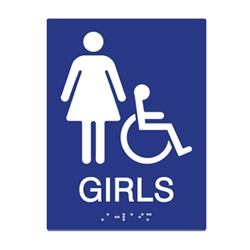 ADA Compliant Girls Restroom Wall Signs for Schools with Tactile Text and Symbols, and Grade 2 Braille - 6x8