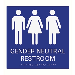 American Made High Quality ADA Compliant Gender Neutral Restroom Wall Signs with Tactile Text and Grade 2 Braille - 9x9 available at STOPSignsAndMore.com
