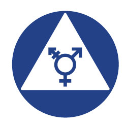 All Gender ADA Restroom Door Sign w/ Symbol on White Triangle - 12x12