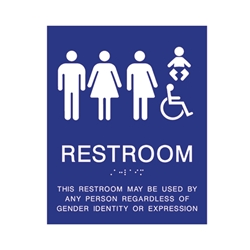 ADA Compliant All Gender Baby Changing Restroom Wall Sign - 8x10
