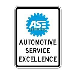ASE Certified Mechanics Sign - 18x24 - Durable aluminum signs for car repair and Smog shops from STOP Signs And More
