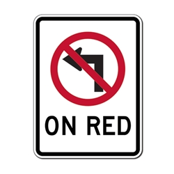 R13-B No Left Turn On Red Sign -18x24 - Official MUTCD Reflective Rust-Free Heavy Gauge Aluminum Road Signs