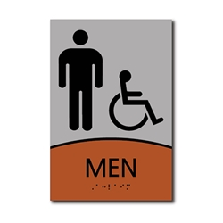 ADA Signature Mens Restroom Wall Sign with Wheelchair Symbol - 6x9