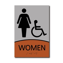 ADA Signature Womens Restroom Wall Sign with Wheelchair Symbol - 6x9