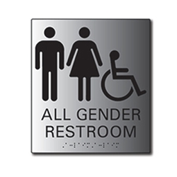 ADA All Gender Signs Restroom Wall Sign with Male, Female and ISA (wheelchair) Pictograms and Tactile Text and Grade 2 Braille- 6x8 - Brushed aluminum is an attractive alternative to plastic ADA signs