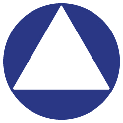 ADA Compliant Gender Neutral Door Sign - 12x12 with white triangle on blue background, universally accessible.