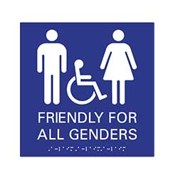 ADA compliant Gender Friendly Restroom Sign - Wall Sign - 9x9