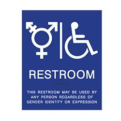 Gender Neutral ADA sign with wheelchair symbol restroom wall signs for non-gender specific restrooms