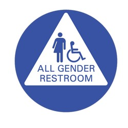 ADA Gender Neutral Restroom Door Sign with All Gender Pictogram and Wheelchair Symbol on White Triangle - 12x12