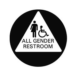 Pack of 5 16 x 16 Perforation CGSignLab 2439176/_5gfxp/_16x16/_None All-Gender Restroom Sign in Black and White Perforated Window Decal