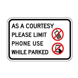 Parking sign for limiting cell phone use in a parking lot - 18x12 - Affordable Durable Parking Lot Signage available at STOPSignsAndMore.com
