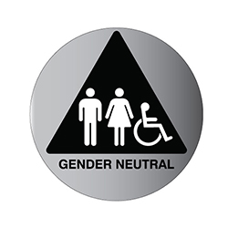 (Gender Neutral) Restroom Door Sign Brushed Aluminum  w/ Pictorgams on Black Triangle- 12x12