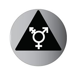 Brushed Aluminum Gender Neutral Restroom Door Sign Symbol On Black Triangle 12x12