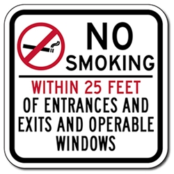 No Smoking Within 25 Feet Of Entrances And Exits And Operable Windows Sign - - Non-reflective