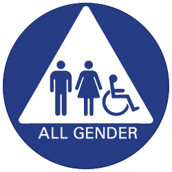 All Gender ADA Restroom Door Sign with ISA and Pictograms on White Triangle - 12x12