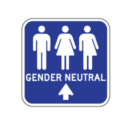 Outdoor Rated Aluminum Accessible Gender Neutral Restroom Sign - Ahead Arrow - 12x12 - Reflective Rust-Free Heavy Gauge Aluminum Restroom Signs available at STOPSignsAndMore.com